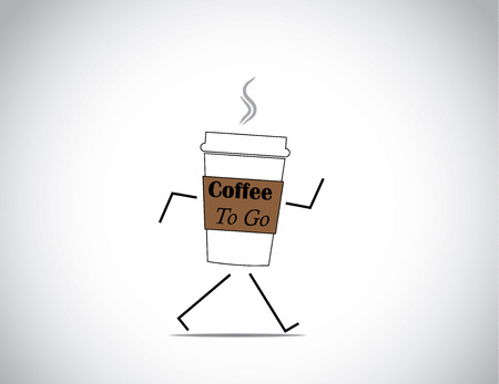 white fresh and hot coffee to go cup walking with bright white background concept illustration Vettoriali