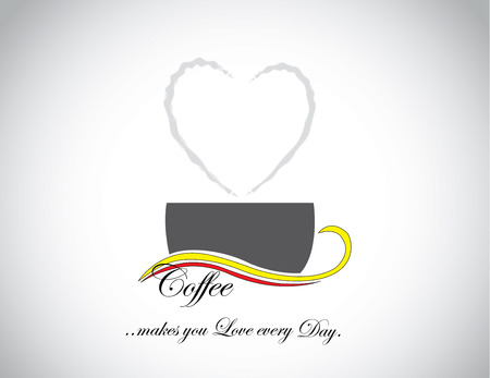 awesome fresh coffee in a black dark cup with a heart love shaped smoke coming out from it with while background : love everyday coffee concept illustration art