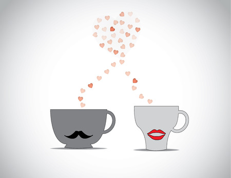 the first love: Two coffee cups with black mustache and red lips with red flying hearts making a big love shape in a bright white : concept first date valentine