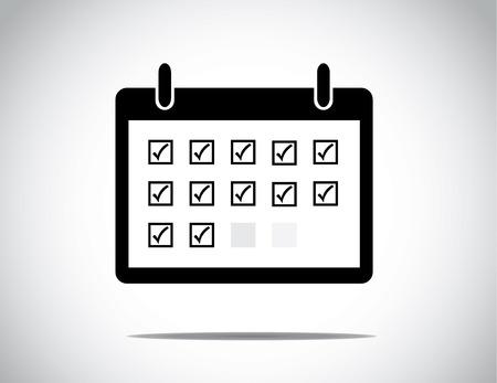 Black succesvol bedrijf kalendermaand getoond met alledaagse blokken als een lijst te checkboxes doen aangevinkt: zakelijke groei van de winst en succes concept illustratie Stock Illustratie