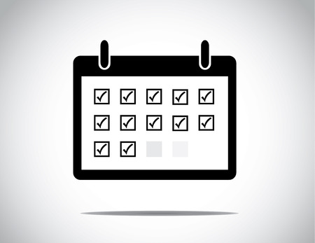Black successful business calendar month shown with everyday blocks as a to do list checkboxes ticked : business profit growth and success concept illustration