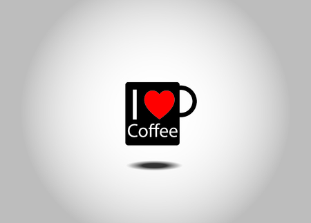black coffee mug with I love coffee text - vector illustration Vettoriali