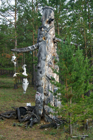 imitation of a heathen idol from a huge dry stump in the forest, with hanging bones of animals Stock Photo