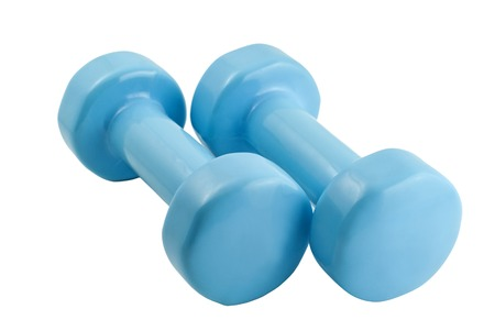 pair of light blue dumbbells for fitness