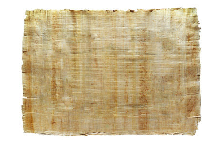 a sheet of natural Egyptian papyrus, created by authentic technology, isolated Standard-Bild