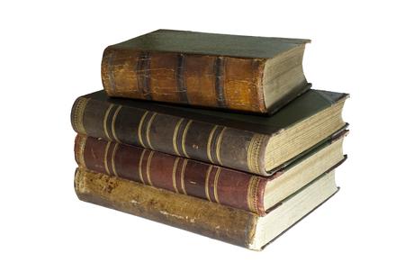 白い背景に隔離された4冊の古代の本の積み重ね 写真素材