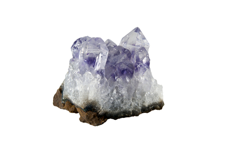 small cluster of amethyst crystals isolated