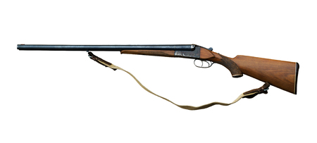 hunting double-barreled shotgun with barrels located one next to the other, isolated