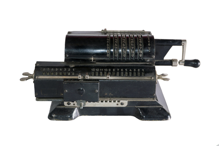 ancient mechanical calculator (arithmometer) isolated 版權商用圖片