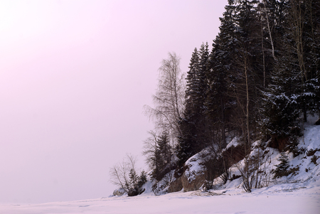 steep wooded shore of a frozen pond against the backdrop of a sunset frosty haze instead of the sky
