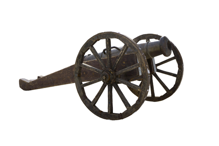 medieval cast-iron cannon on a wooden carriage isolated Stock Photo
