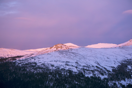 landscape - morning dawn in the mountains of the Northern Urals in the vicinity of Mount Konzhakovskiy Kamen