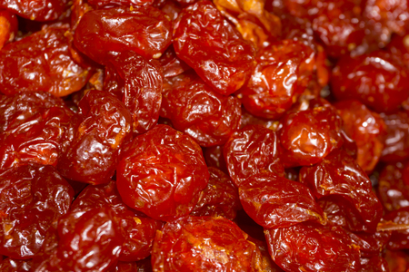 solid background - sun dried cherry without pips closeup