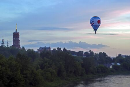 Kungur, Russia - June 30, 2018: hot air balloon flying flying against the sky during the Aeronautics Festival
