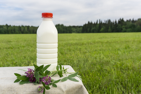plastic bottle of fresh milk and a small bouquet of clover on a linen tablecloth amid a blurred meadow