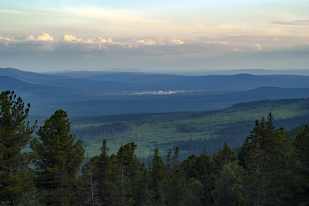 Small military town Kytlym (Sverdlovsk oblast, Russia) among the Ural Mountains, general view from the Mount Konzhakovskiy Kamen
