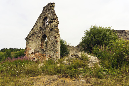 ruins of the shop of an old factory of the XIX century among a completely disappeared settlement