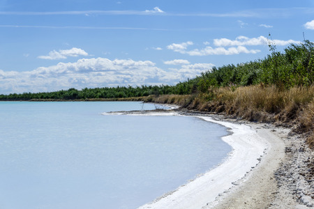 shore of a salty lake with a crust of salt along the coastline