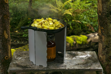 the potato is fried in a frying pan standing on a portable gas burner with a windscreen in the tourist camp