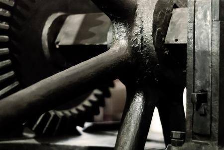 blurred dark background - fragment of an old steam engine Stock Photo
