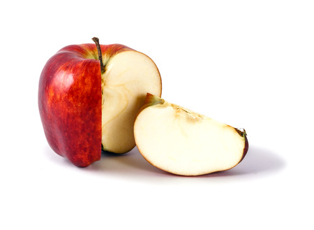 ripe red apple without a slice cut out close up on white background 写真素材