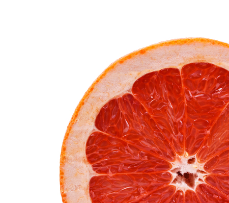 half of pink grapefruit isolated on white background close-up 写真素材