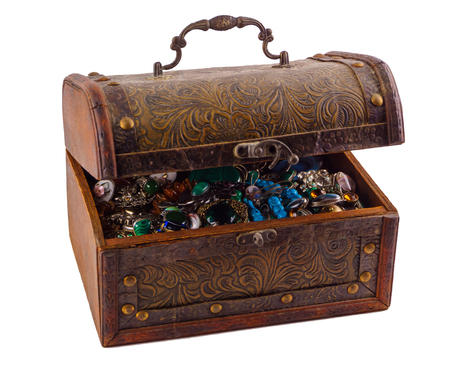 old vintage small chest with jewelry isolated on white background Stock Photo