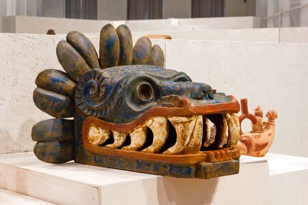 Yekaterinburg, Russia - head of Quetzalcoatl from the Pyramid of the Feathered Serpent in Teotihuacan, Mexico, AD 200-300, in the museum
