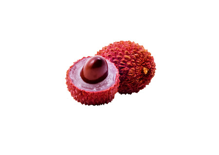 two lychee fruits isolated on white background