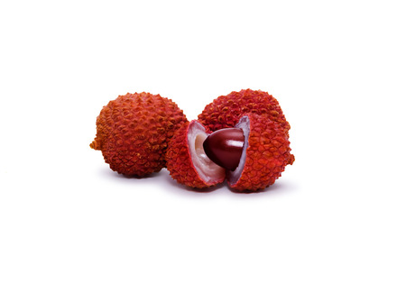 several lychee fruits isolated on white background