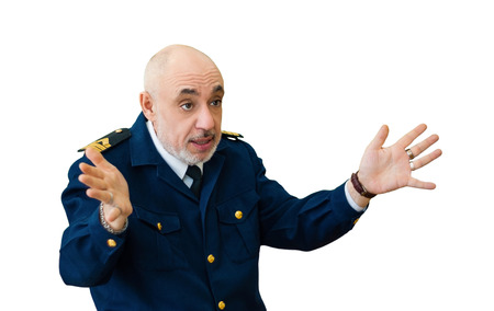 elderly man in an officer's sea uniform emotionally narrates something, emotionally gesticulating, isolated on white background