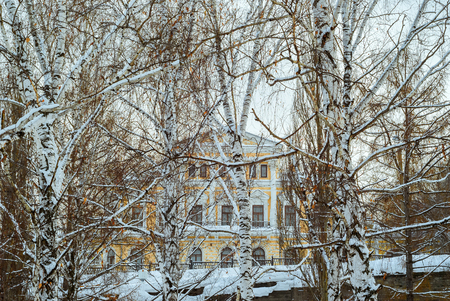 classicism building behind the winter birch grove above the ancient stone flyover Stock Photo