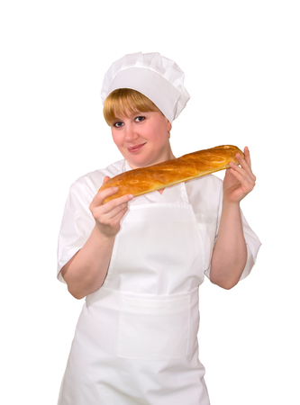 woman baker with baguette isolated on white background