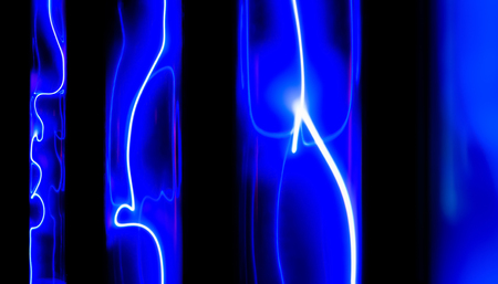 abstract neon background - lightning and glowing electrical discharges in flasks with inert gas on a black background