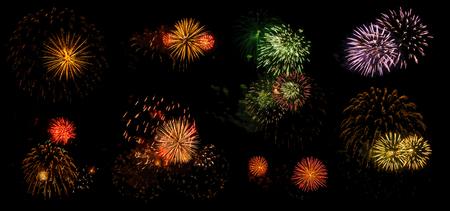 éclairs multicolores de salut festif isolés sur fond noir, huit options Banque d'images
