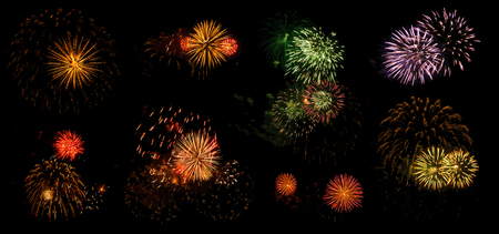 multicolored flashes of festive salute isolated on black background, eight options Stock fotó