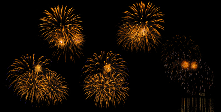 multicolored flashes of festive fireworks isolated on black background, five options
