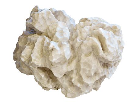 natürlicher weißer Nugget Gips Alabaster isoliert auf weißem Hintergrund Standard-Bild