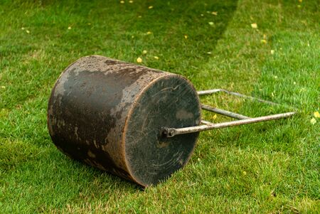 hand roller for laying the lawn is on the grass outdoor