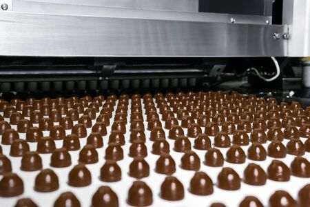 rows of toppings for chocolates manufactured by machine, on a conveyor of a chocolate factory Stok Fotoğraf
