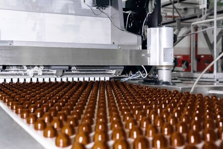 rows of toppings for chocolates manufactured by machine, on a conveyor of a chocolate factory  Reklamní fotografie