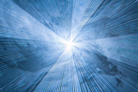 abstract blurred blue background with diverging light rays - laser strobe in smoke Stok Fotoğraf
