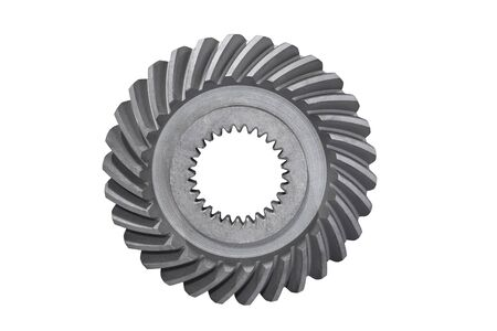 spiral bevel gear with shaft hole isolated on white background Standard-Bild