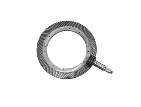 spiral bevel gear train - wheel and shaft - isolated on a white background