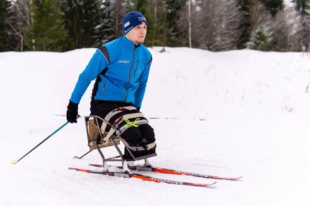 Perm, Russia - December 07, 2019: athlete skier with disability training outdoors in winter