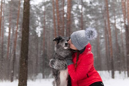 young woman kisses her dog in a winter forest during snowfall Reklamní fotografie