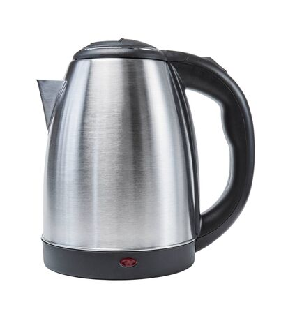 silver metal electric kettle isolated on white background