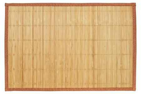 empty reed serving mat without pictures and inscriptions isolated on a white background Archivio Fotografico