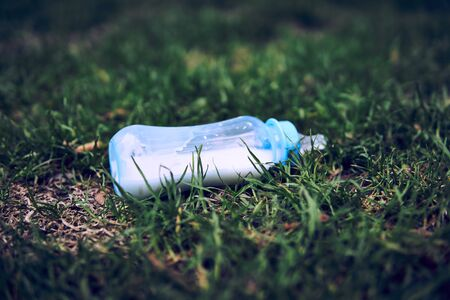 lost milk bottle for the baby lies among the grass