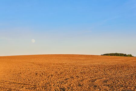 agricultural landscape - the evening plowed field is illuminated by the rays of the setting sun, the rising moon is visible in the bright sky